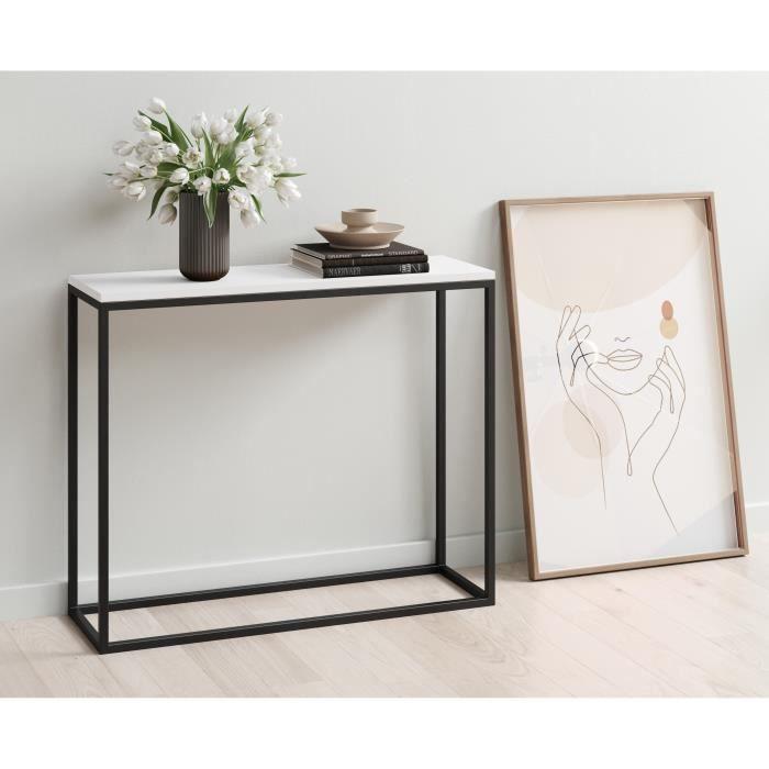 Console LOFT - Style industriel - Décor blanc et noir - L 100 x P 30 x H 80cm