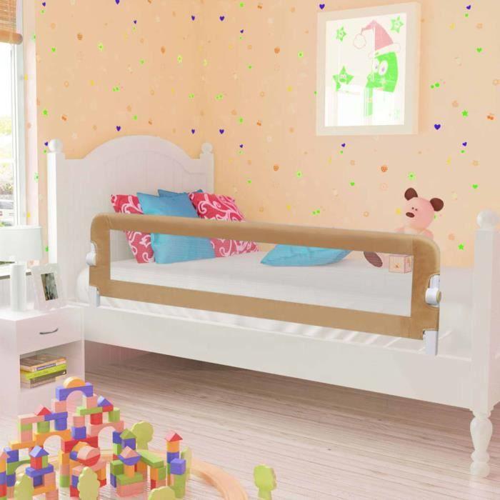 2472FUN® Haute qualité Barrière de lit enfant - Barrière de Lit Portable Bébé Protection De Lit Taupe 150x42 cm Polyester