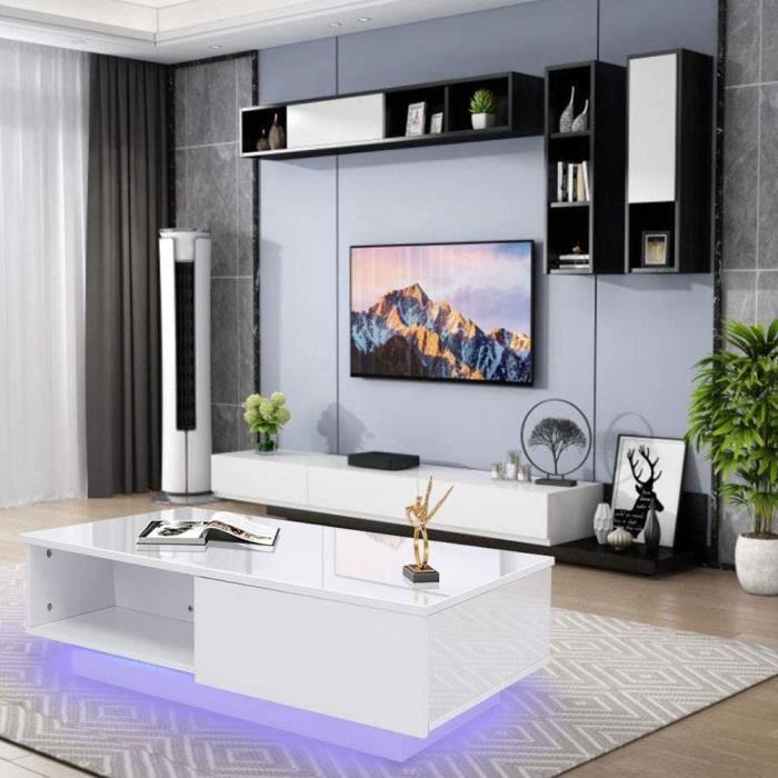 TABLE GIGOGNE Table basse, moderne et brillante - Table basse rectangulaire blanche avec lumi&egravere LED - 16 couleurs - Po368
