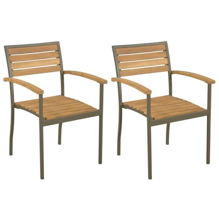 Chaise Empilables D'Extérieur 2 Pcs Bois D'Acacia Et Acier @TXY057