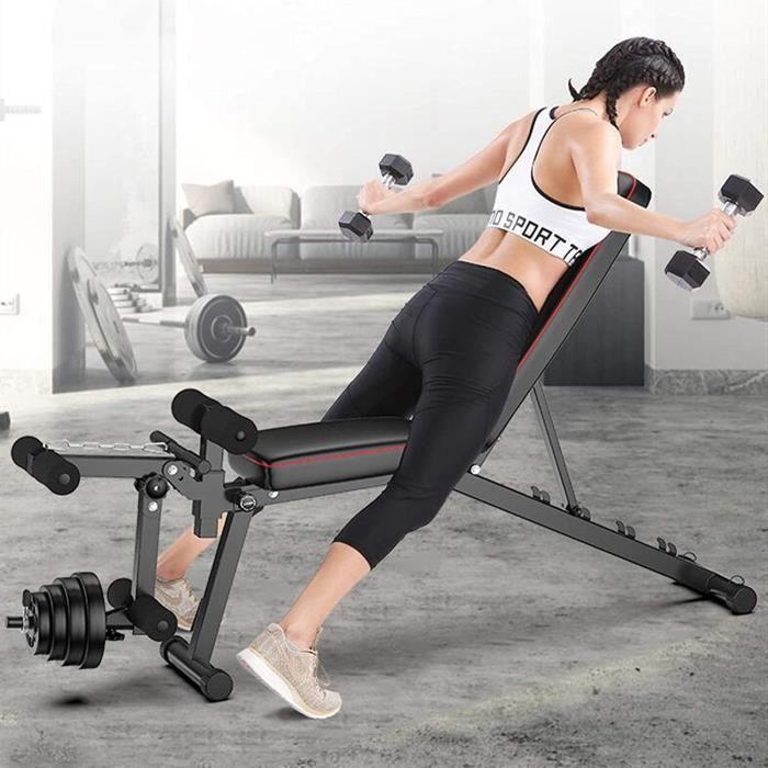 AIMCAE Banc d'entrainement reglable, Exercice du Dos, Banc de Musculation Utilitaire avec Corde de Fitness, Banc Assis, Banc d'h,319