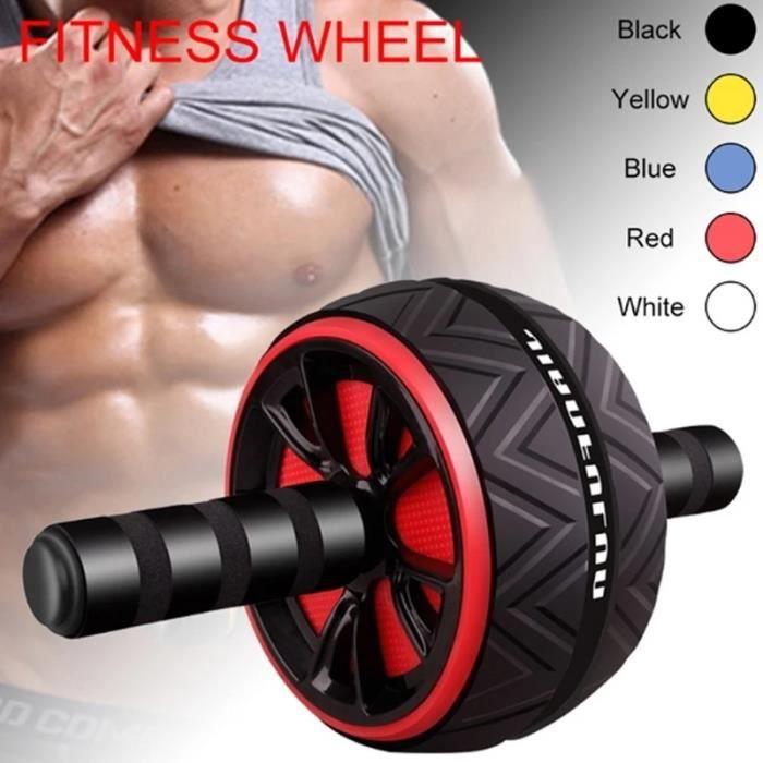 Équipement d'exercice de roue à rouleaux abdominaux Muscles de rouleau muet,Noir