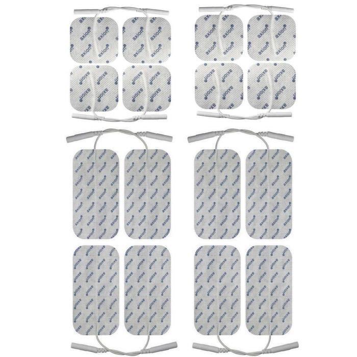 Axion - set de 16 électrodes 8 x 10*5 cm + 8 x 5*5 cm - pour les appareils Globus équipés d'une connexion de 2 mmde axion.Allemagne