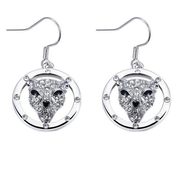 Boucles d'Oreilles pendantes Panthère en Cristal de Swarovski Elements Blanc et Plaqué Rhodium
