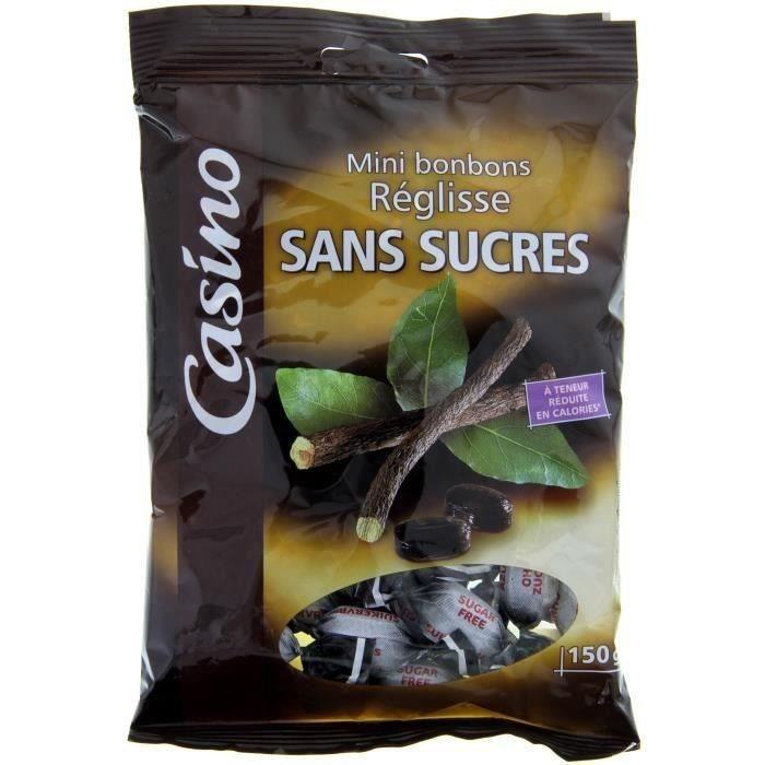 CASINO Mini bonbons réglisse sans sucres - 150 g