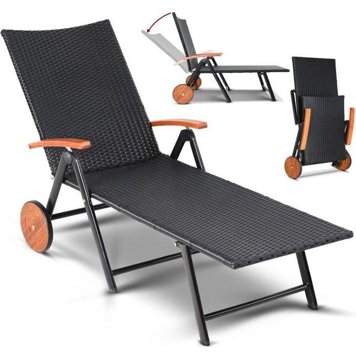 Chaise longue pliable polyrotin structure alu 2 roues en bois d'acacia accoudoirs réglable bain de soleil transat jardin terrasse