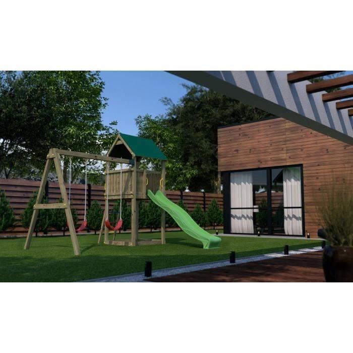 BALANCOIRE / PORTIQUEen bois Aire de Jeux Pollux pour Enfants (toboggan, balançoire, cabane)