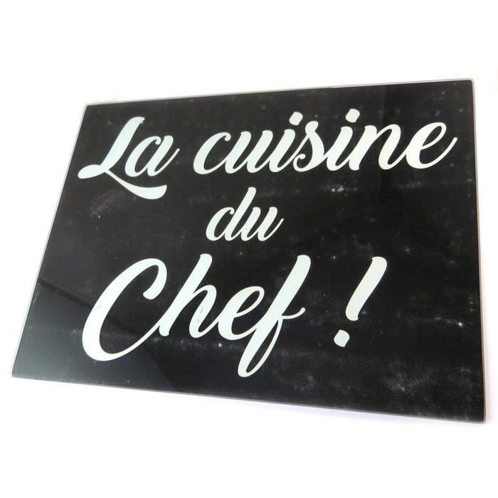 Planche ŕ découpe / dessous de plat verre 'Citations' (La cuisine du chef !) - 40x30 cm... [P1047]
