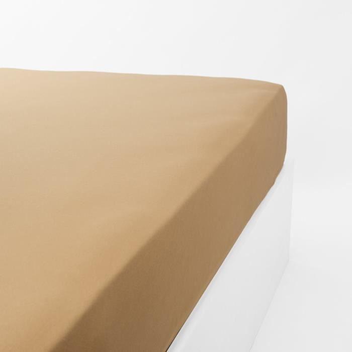 LINANDELLE Drap housse jersey extensible enfant Kidor - 60 x 120 cm - Caramel