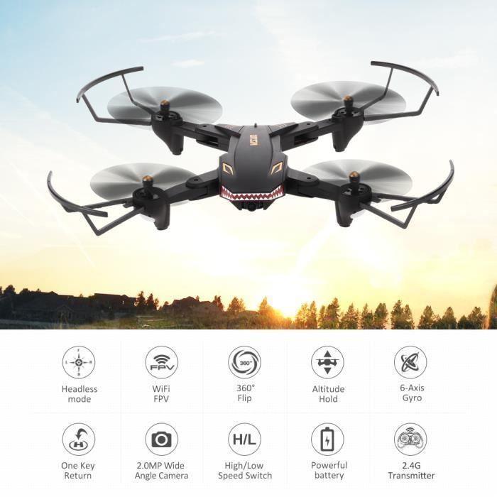 VISUO XS809S Drone 2.0MP Grand Angle Caméra Wifi FPV Clé Retour Altitude Maintenir G-capteur Quadcopter avec Batteries