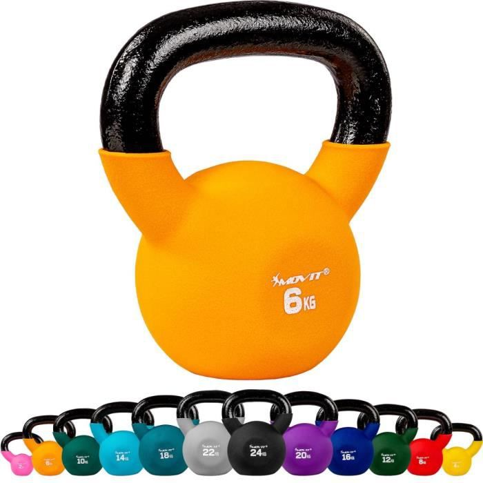 MOVIT Kettlebell 6kg orange en fonte néoprène