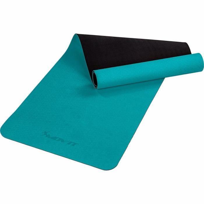 MOVIT Tapis de gymnastique TPE, tapis de pilates, tapis d'exercice premium, tapis de yoga, 190 x 60 x 0,6 cm, bleu pétrole