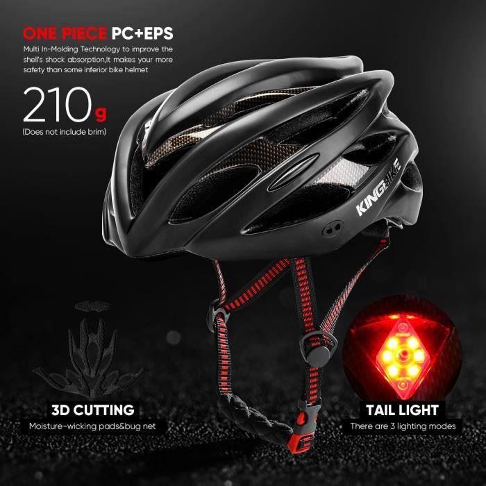Casque de vélo Noir-ESP Avertissement de feu arrière