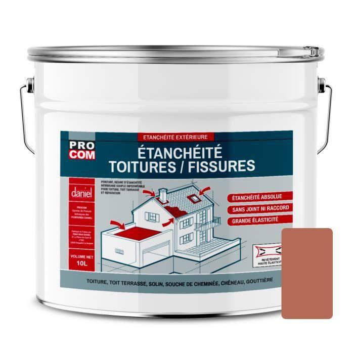 Peinture d'étanchéité pour toiture, réparation tuiles, fissures, anti-fuites, anti-mousse, décore et protège 10 litresTerre cuite
