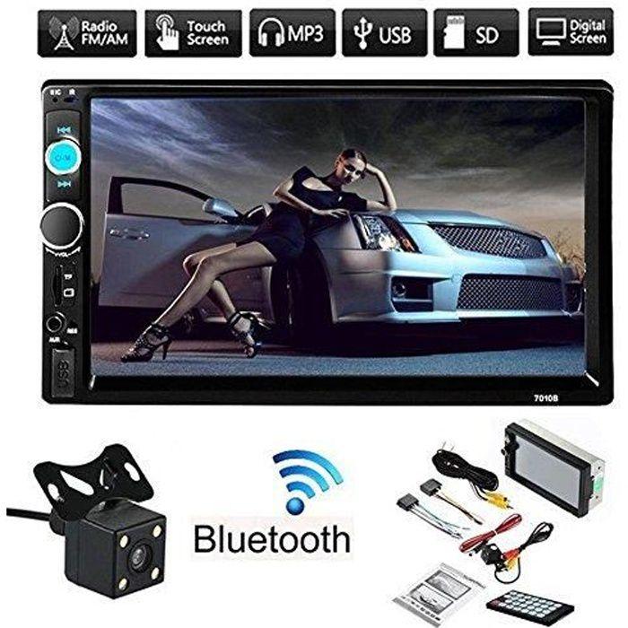 2 Din Car Radio Player 7 '' HD Dans l'écran Dash tactile Bluetooth voiture lecteur FM / MP5 / USB / AUX avec caméra de marche arrièr