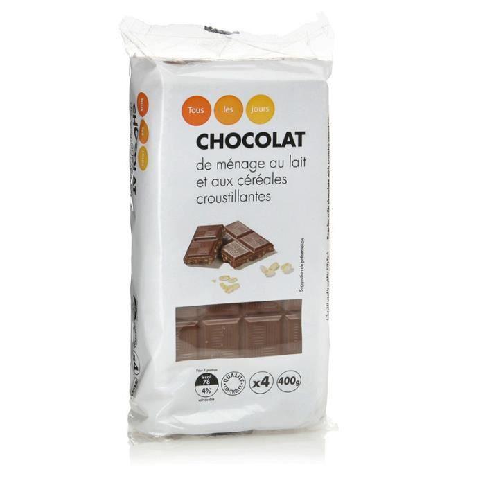 TOUS LES JOURS Chocolat de ménage au lait et aux céréales croustillantes - 4 x 100 g