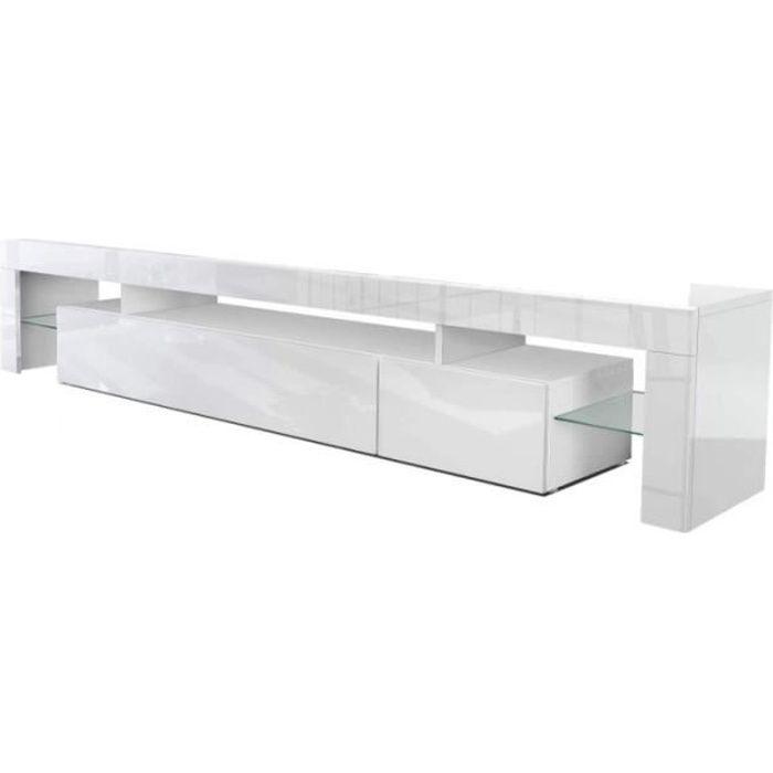 Meuble TV LED ORLANDO 190 CM blanc laqué