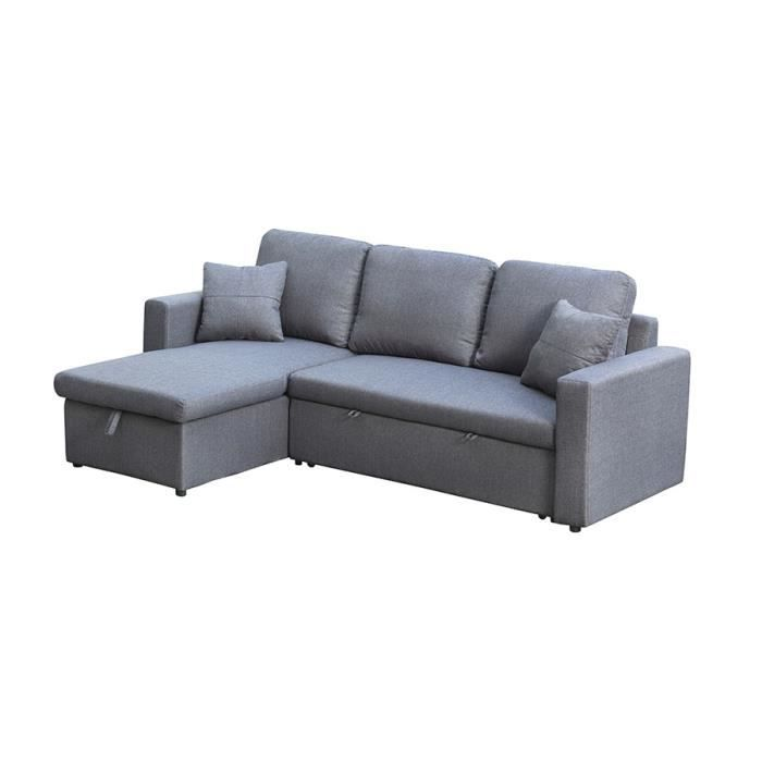 canap d 39 angle convertible gris zepato gris clair achat vente canap sofa divan cdiscount. Black Bedroom Furniture Sets. Home Design Ideas