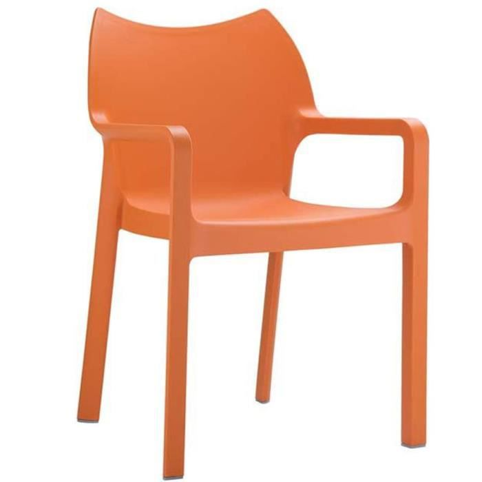 Chaise de jardin empilable en plastique orange, Dim : H84 x P53 x L57 cm