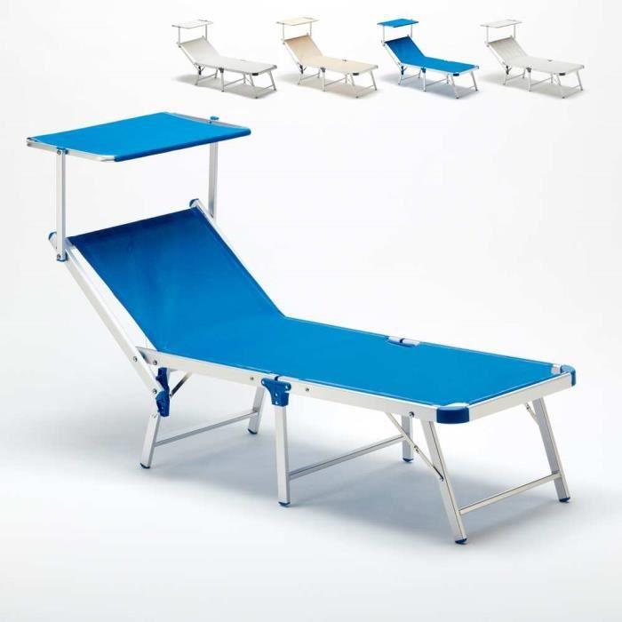 Bain De Soleil Pliant Transat Plage Aluminium Lit De Plage Jardin Gabicce Couleur Bleu Achat Vente Chaise Longue Bain De Soleil Pliant Transat Cdiscount