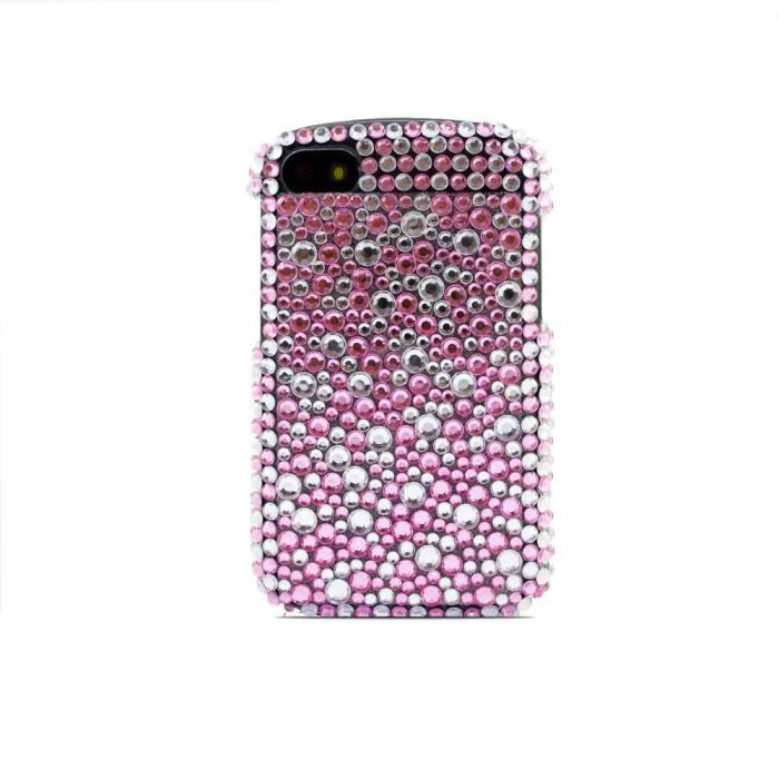 Coque housse strass blackberry q10 bulles roses achat for Housse blackberry q10