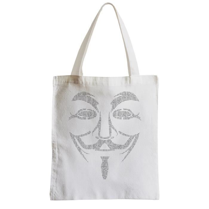 Binaire Shopping Plage Anonymous Etudiant Sac Visage Grand Code qpfPwP