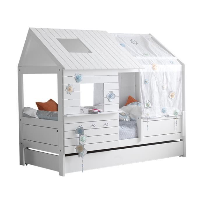 lit cabane silversparkle laqu blanc achat vente structure de lit soldes cdiscount. Black Bedroom Furniture Sets. Home Design Ideas