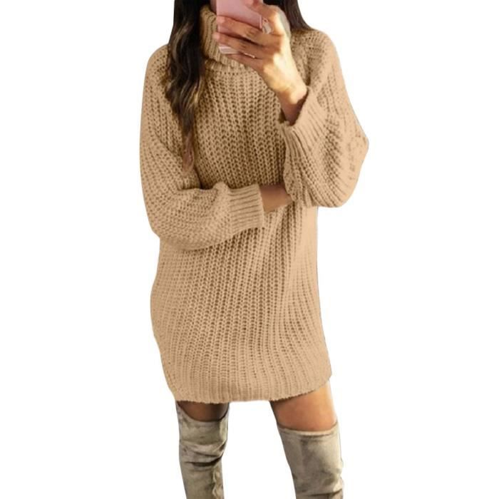 Minetom Robe Pull Femme Tricot Pull Col Roule Manches Longues Mini Robe Chic Tunique Automne Hiver Uni Chaude Chandail Pullover Kaki Achat Vente Pull Cdiscount