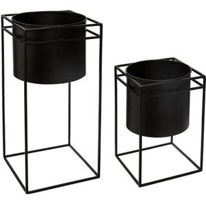 JARDINIÈRE - BAC A FLEUR Lot de 2 pots en métal avec support noir