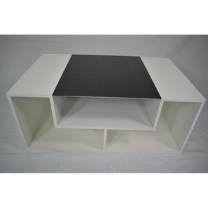 TABLE BASSE Table basse blanche en  bois et verre   100 cm
