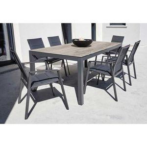 SALON DE JARDIN  Ensemble de jardin 1 table marron bois + 6 fauteui