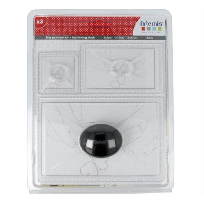 maxi lot 3 blocs acryliques de positionnement avec poignée 5x5cm 6x10cm 10x15cm 3mm d'épaisseur tampon clear stamp SCRAPBOOKING SCRA