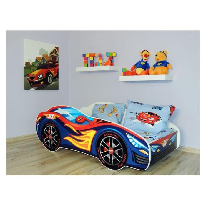 Lit Enfant VOITURE 140x70 + MATELAS ROUGE BLEU
