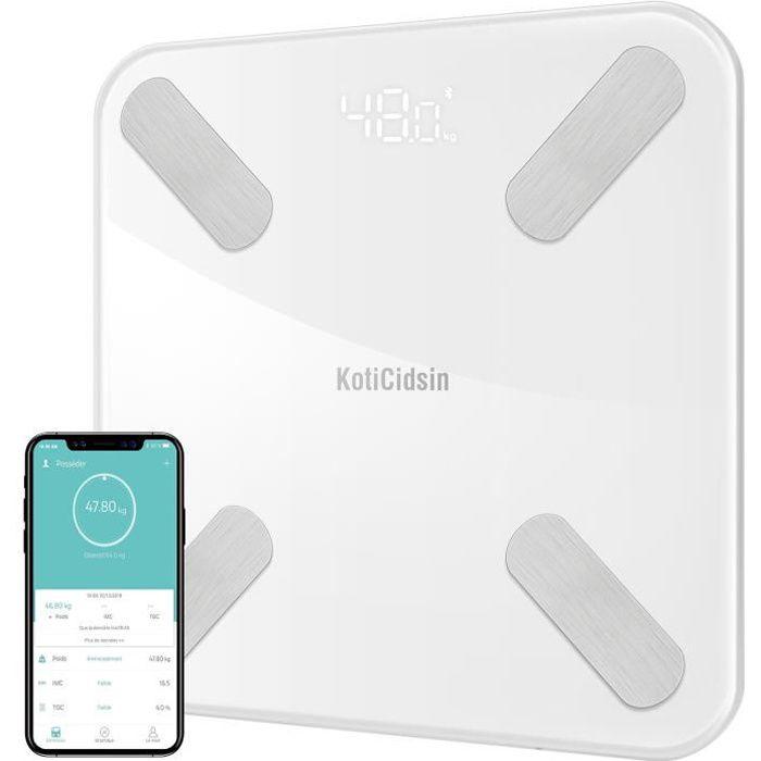 KotiCidsin Pèse Personnes Impédancemètre, Balance Pèse-Personne Bluetooth, Ecran Rétroéclairé LED Grand, Blanc