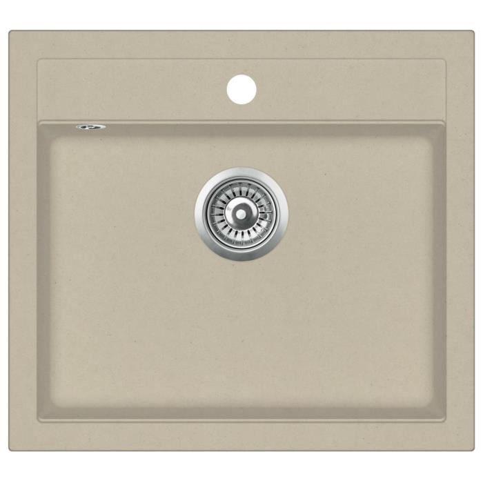 Évier de cuisine Granit Seul lavabo Beige #264 -KEL