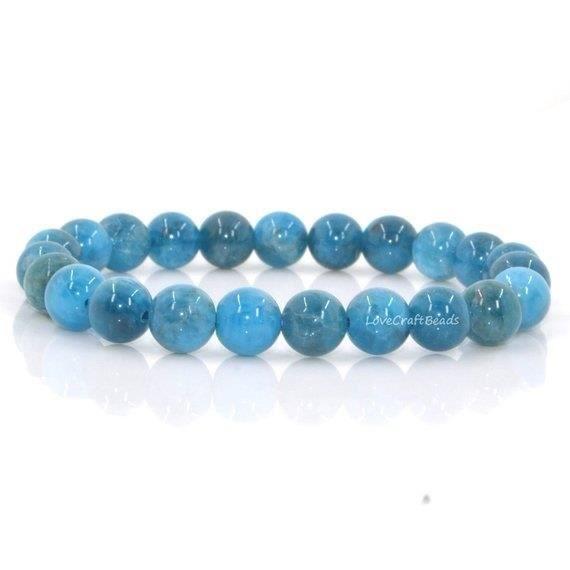 Naturel A Grade Apatite 8Mm Perles Rondes Stretch Bracelet 7 -Unisexe (Venez Avec Pochette)_argent160
