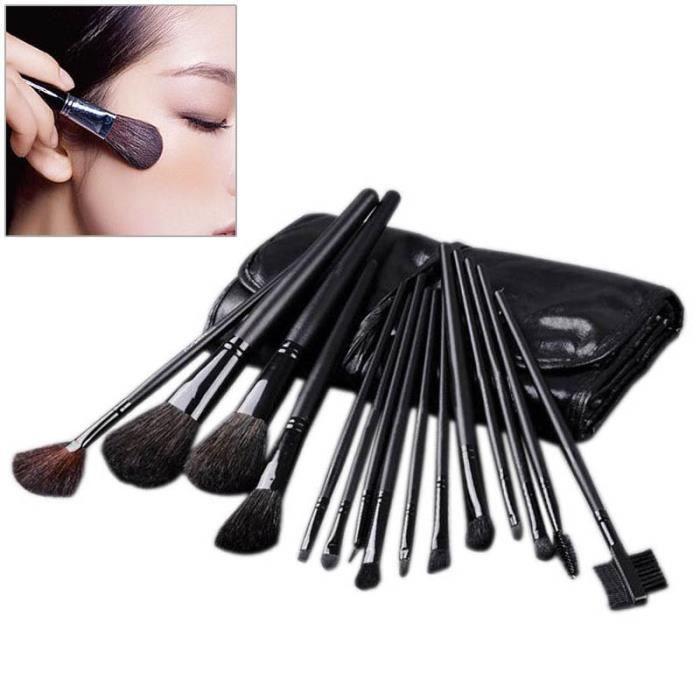 15 pcs professionnels pinceaux de maquillage cosmétique Set cuir Kit Case Black Face Care Maquillage Pinceaux