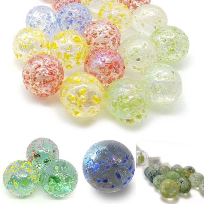 MesBilles - 10 Billes en verre Pépite Couleur - 9 Billes et 1 Calot