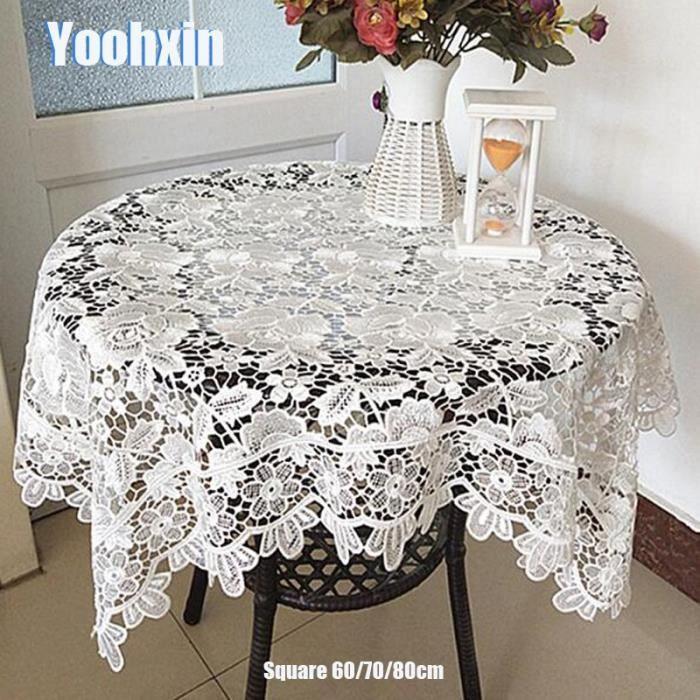 Nappe carrée en coton et dentelle blanche de luxe, nappe brodée de fleurs, pour Table à ma -White-Square 80cm