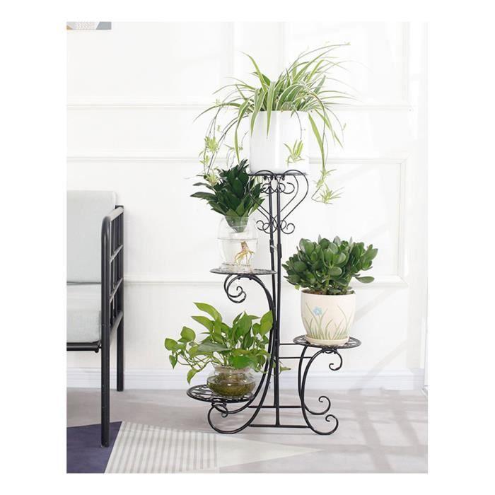 Porte Pots Plante Fleurs sur Pied Support Jardin en Métal,Étagère à Fleur en Fer Forgé de 4 Niveaux pour Intérieur Extérieur Noir