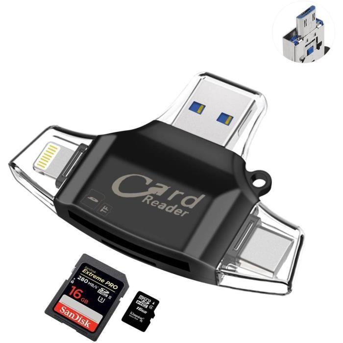 Lecteur Carte USB TF Card Reader - Sonoka Lecteur de Carte Mémoire 4 en 1 Lightning/USB 2.0 Standard/Type C/Micro USB Adaptateur Car