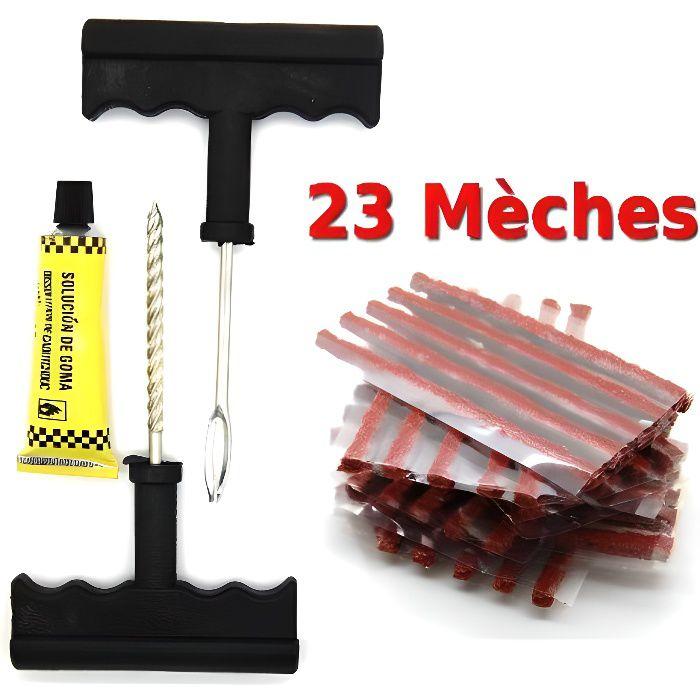SECRETDRESSING - Kit de reparation avec meches pour pneu tubeless - Kit de reparation + 23 Recharge