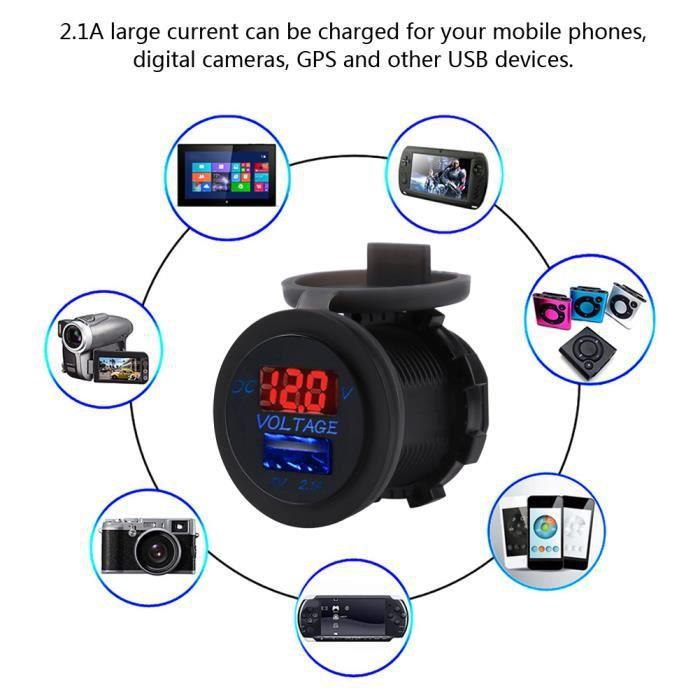 HURRISE Voltmètre USB 12 / 24V 2.1A voiture adaptateur chargeur USB prise de courant voltmètre pour RV moto bateau lumière rouge