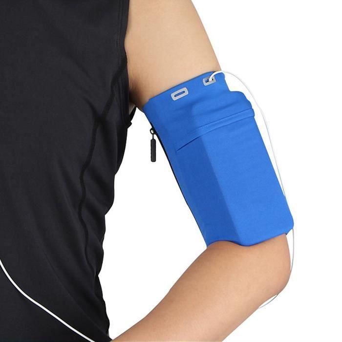 Sac de bras multifonctionnel Gym, support de téléphone portable, extérieur bande de course étanche bras ceinture pour Sport Bleu L