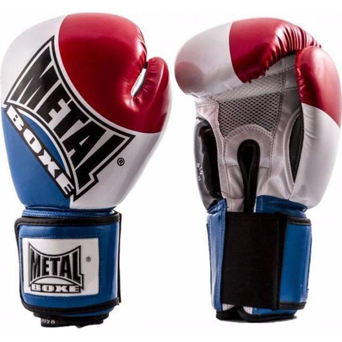 Gants de boxe bleu/blanc/rouge - METAL BOXE