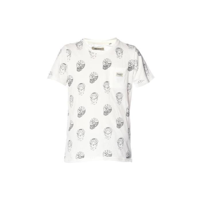 DEELUXE - SANGRIA T-shirt Blanc Manches Courtes Imprimé Tête de Mort - Garçon