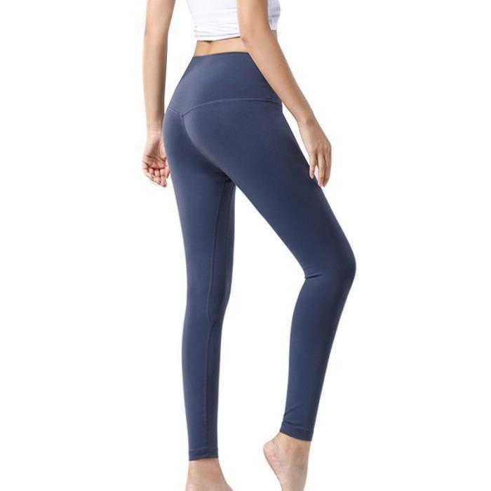 Pantalon de Compression Femme de Sports Yoga Fitness Couleur Unie Taille Haute Stretch
