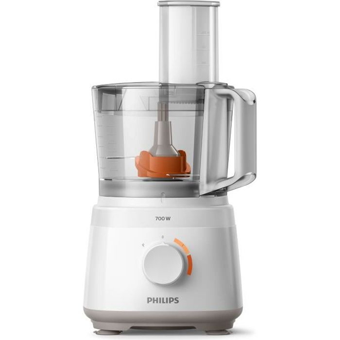 PHILIPS HR7320/00 Robot Multifonctions Daily 700 W - 19 fonctions - Disque inox - Bol 1,5L - Blanc
