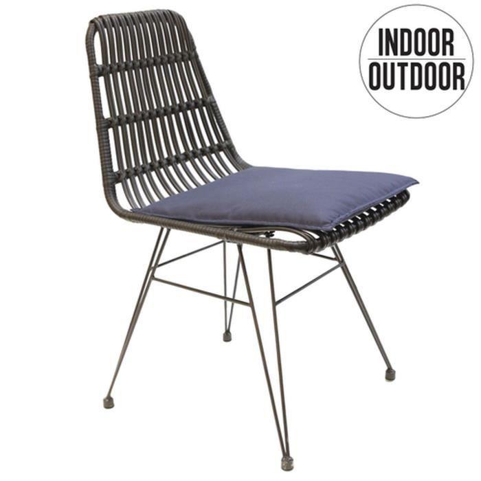 Chaise de jardin tressée design ethnique Surabaya - Noir