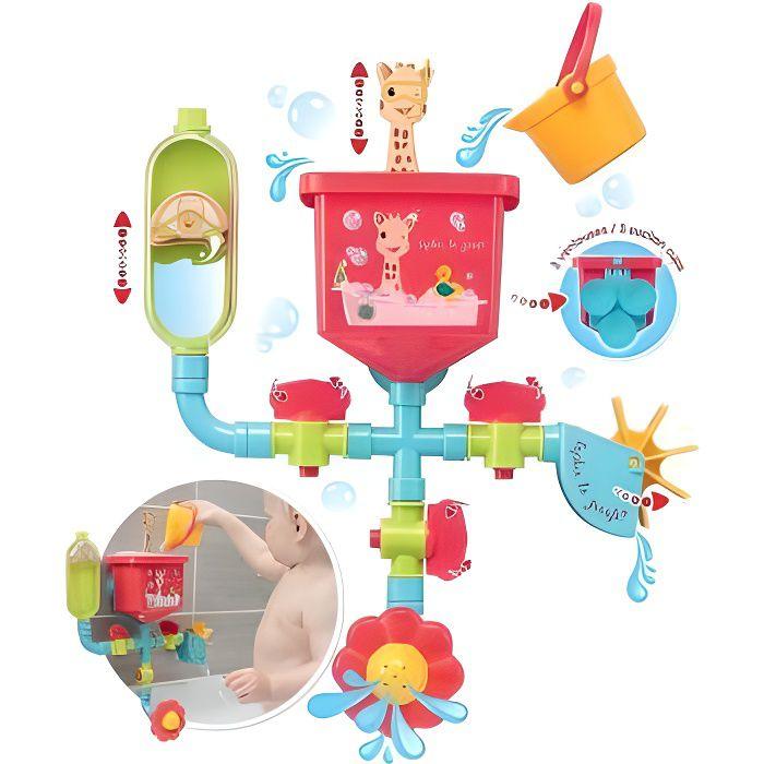 Jouet de bain ventouse : Tuyaux Folies Sophie La Girafe - Circuit d'eau, cascade, activites - Premier age, bebe 10 mois+